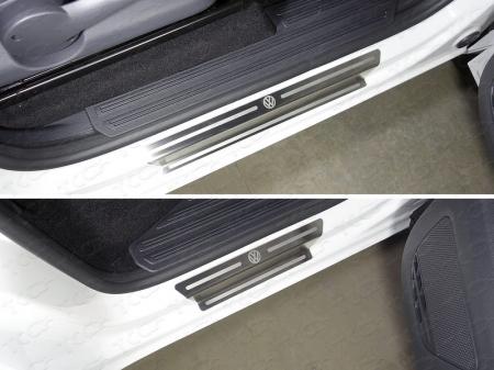 Volkswagen Amarok 2016-Накладки на пороги (лист шлифованный логотип Volkswagen)